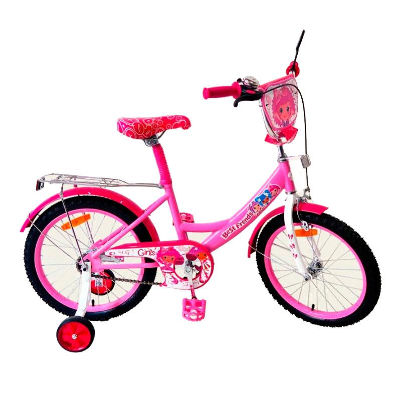 Дитячий рожевий двоколісний велосипед